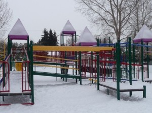 The playground with a light dusting of, you guessed it :snow""