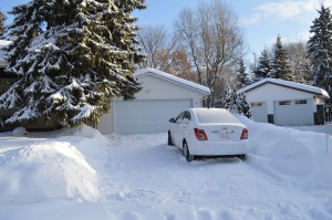 In case you cant see it. White hire car in the driveway.